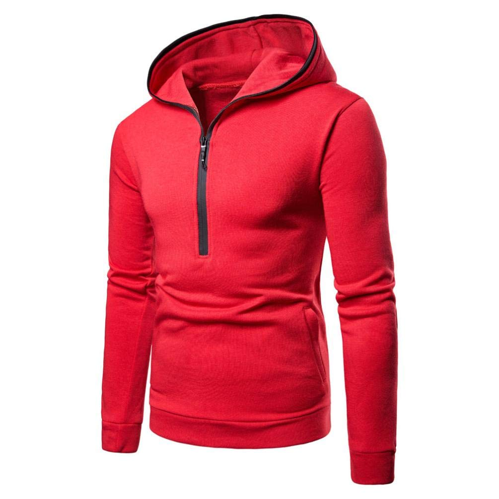 Corriee Hoodie for Men Mens Autumn Casual Pure Color Zip Up Pullover Tops Long Sleeve Hooded Sweatshirt Blouse with Pocket