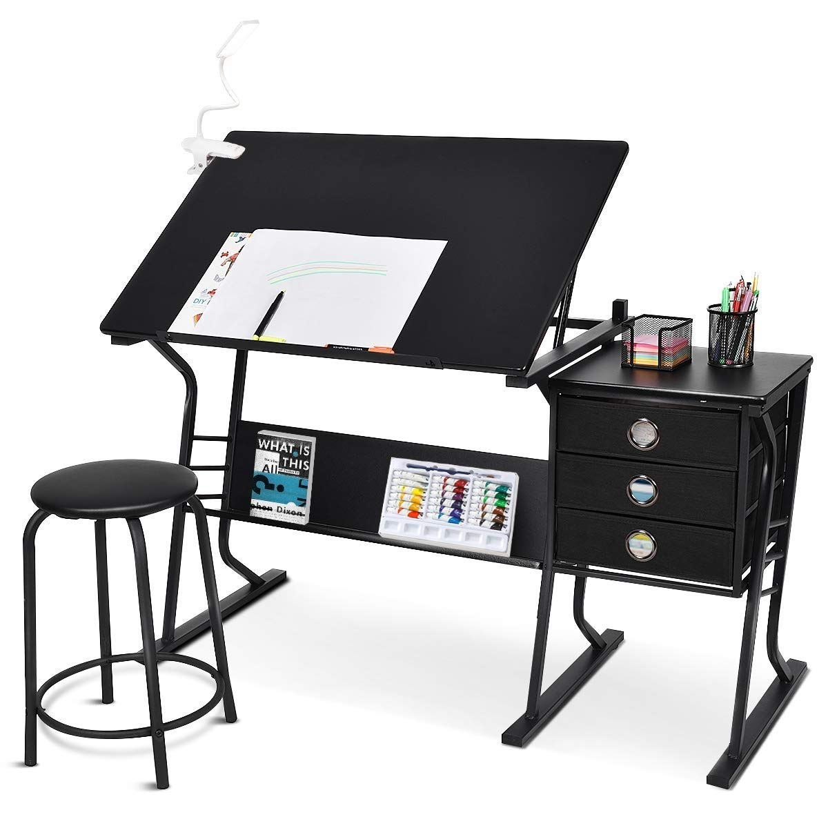 Black Adjustable Drafting Table with Stool & Side Drawers Desktop Artist Base Desk with Comfortable Chair