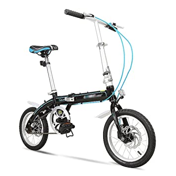 Bicicleta plegable de 14 pulgadas niños ultraligeros estudiantes adultos mini bicicleta (Color : Negro)