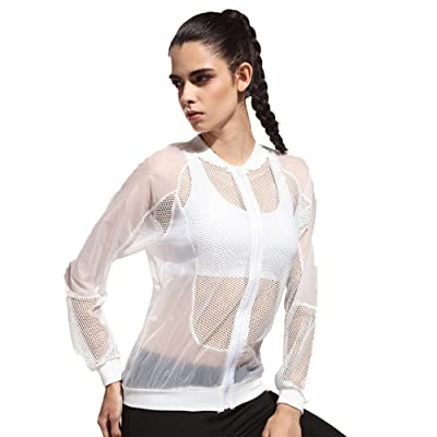 White Transparent Sports Jackets for Women Zipper Up Hoodies Activewear for Jogging Running and Outdoor Sports