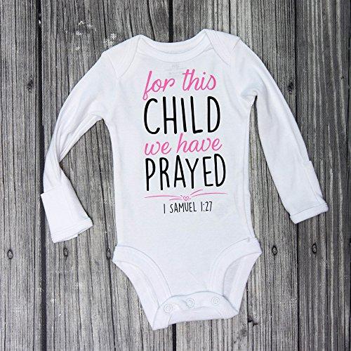 christian baby bodysuit, For this child we have prayed bodysuit, christening bodysuit, baptism bodysuit, 1 Samuel 1:27, bible verse bodysuit, religious bodysuit,