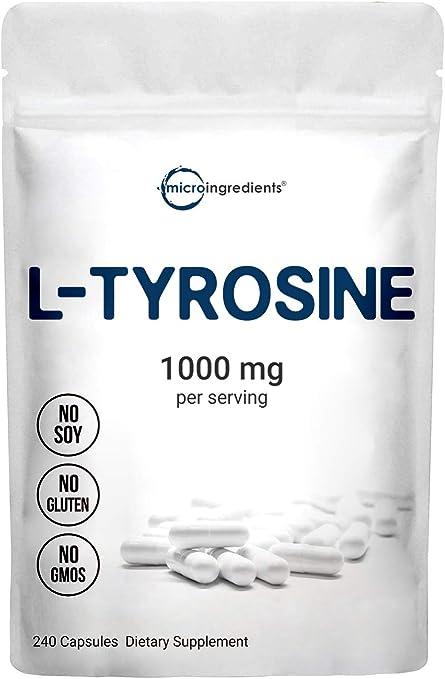 Micro Ingredients L Tyrosine Pills, 1000mg Per Serving, 240 Capsules, Premium Tyrosine Pre Workout Supplement, Non-GMO