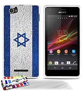 Carcasa flexible Ultrafina Blanca Original de MUZZANO estampada Israel Bandera para SONY XPERIA M + 3 películas de protección UltraClear para la pantalla