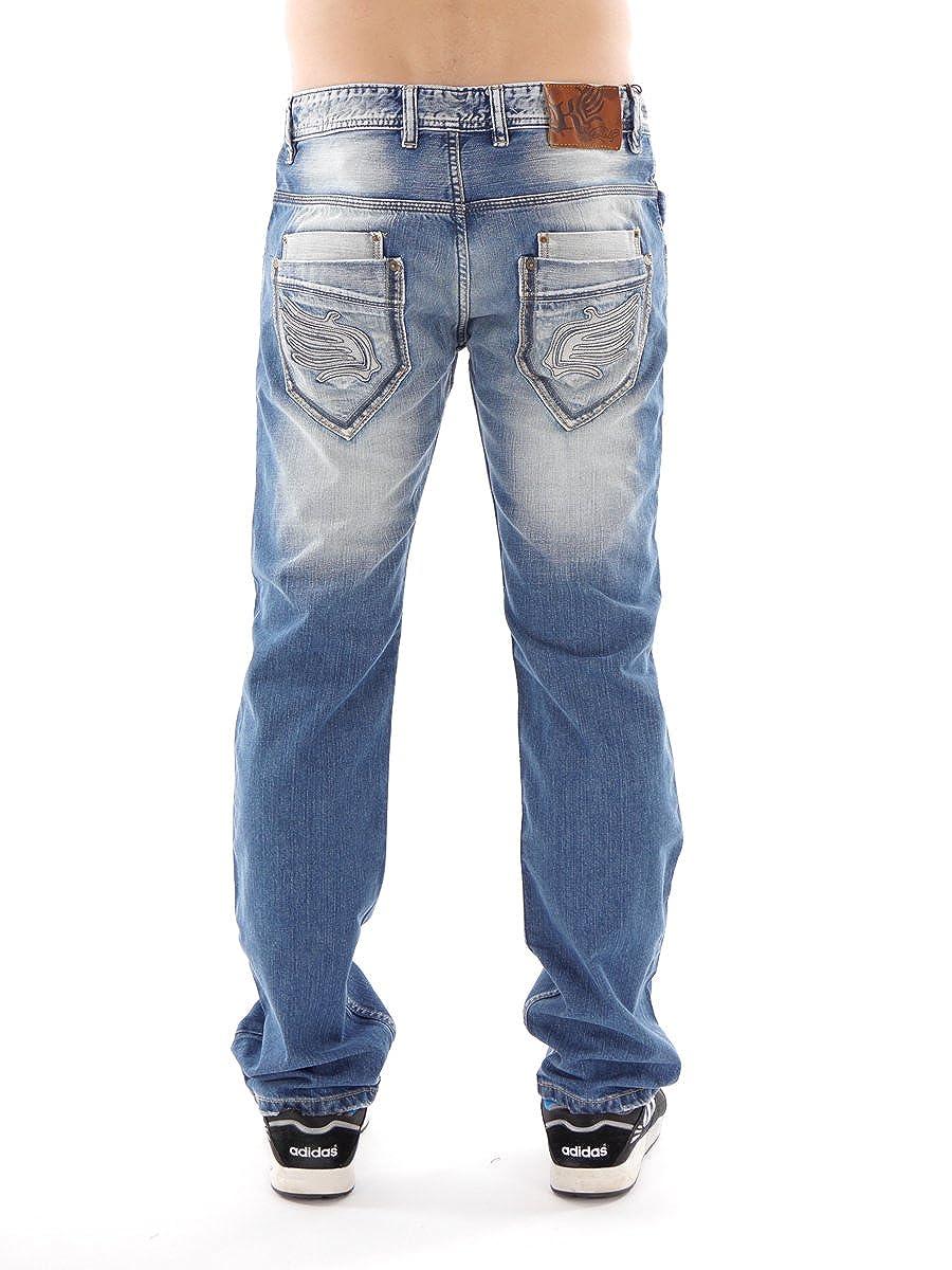 0b0e323fe76a97 KAPORAL Kaporal5 Jeans Hose Kurt Blau Denim Taschen Used Lederpatch  Ziernähte Gr: 33 Kurt (33): Amazon.de: Bekleidung