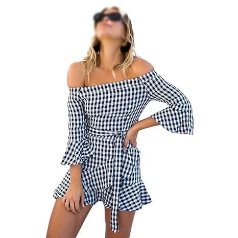 ZSRHH-Falda Vestido de Mujer Vestido Acampanado con Hombros ...
