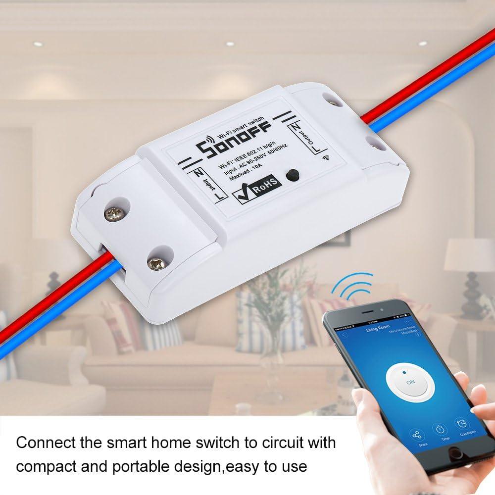 2200W pour Android//iOS APP Commande pour appareils /électriques Module de domoti Leepesx SONOFF Basic WiFi Switch Compatible avec Alexa pour Google Home Minuteur Commutateur /à Distance sans Fil 10A