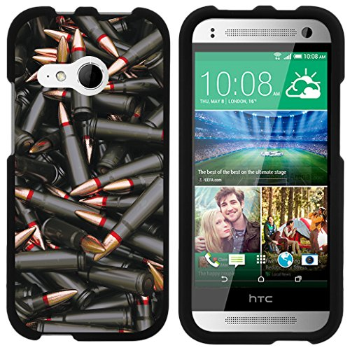 ible for HTC One M8 Mini Case | One Mini 2 | One Remix [Slim Duo] Ultra Slim Hard Matte 2 Piece Snap On Cover on Black War and Military Design - Black Bullets ()