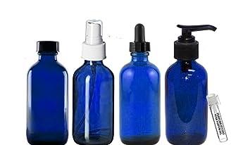 164420ee9efa Perfume Studio Essential Oil Supplies: 4oz Blue Cobalt Glass Bottles, Pack  of 4 Boston Round Glass...