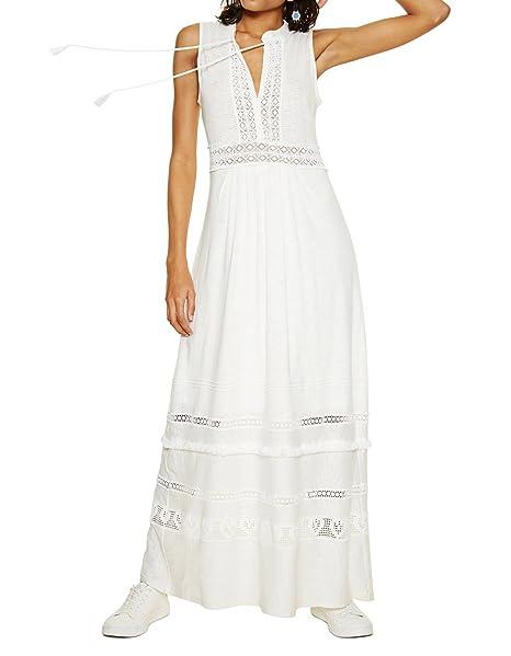 eac7b58522d8 DESIGUAL VESTITO LUNGO DONNA VEST GABRIELA 18SWVKCB xxl bianco  Amazon.it   Abbigliamento