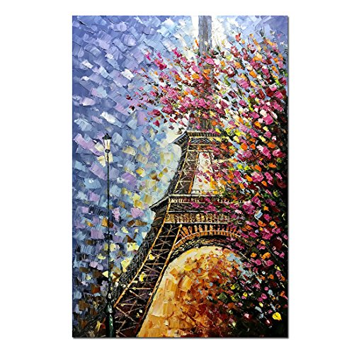 Fasdi-ART Paintings, 24x36Inch Paintings,Oil Painting Landscape 3D Hand-Painted On Canvas Abstract Artwork Art Wood Inside Framed Eiffer Tower Pair Wall Decoration Abstract Painting (DF011)