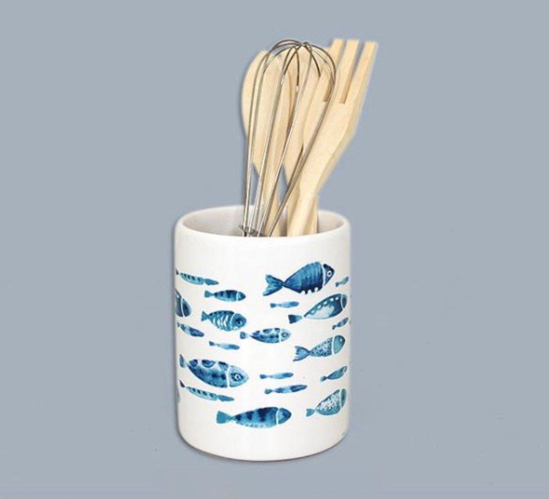 005170 White Ceramic Utensil Holder with Blue Fish Design and 4 Kitchen Utensils