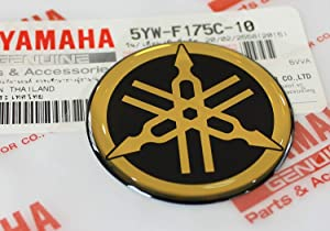 Yamaha 5YW-F175C-10 - Genuine 45MM Diameter Yamaha Tuning Fork Decal Sticker Emblem Logo Black/Gold Raised Domed Gel Resin Self Adhesive Motorcycle/Jet Ski/ATV/Snowmobile