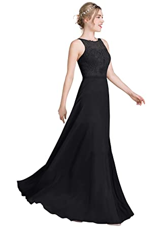 Loffy Womens Long Prom Dress Bridesmaid Dress Lace Chiffon Evening Gown Black Size 2