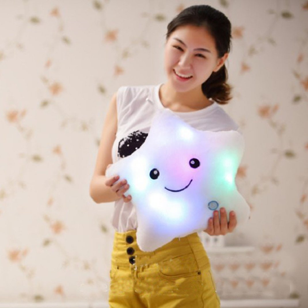Shensee Star Shaped Glowing LED Pillow 7 Color Changing Light up Soft Cushion (White)