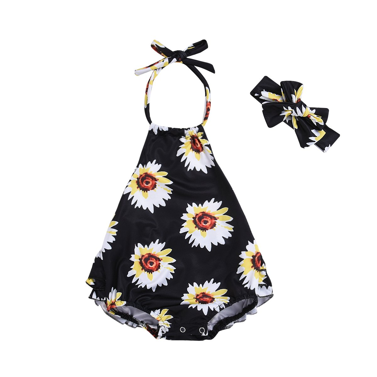 Headband Younger Tree Infant Newborn Baby Girls Romper Bodysuit Clothes Ruffles Sunflower Printed Jumpsuit Summer Set
