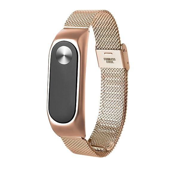 Correas xiaomi mi Band 2 Acero Inoxidable Lanskirt Acero Inoxidable Correa Elegante de Reloj Xiaomi Mi Band 2 Smartwatch Pulsera de Reemplazo de Repuesto ...