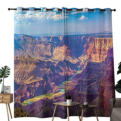 (Mannwarehouse House Decor Soft Curtain Aerial View of Epic Grand Canyon Activity of River Stream Over Rock Plateau Print 70%-80% Light Shading, 2 Panels,W96 x L108 Blue Tan)