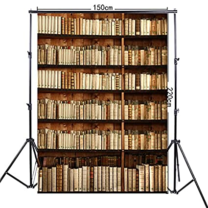 FiVan 5x7ft Thick Rolling Canvas Bookshelf Print Photography Background For Studio Portrait FF 021