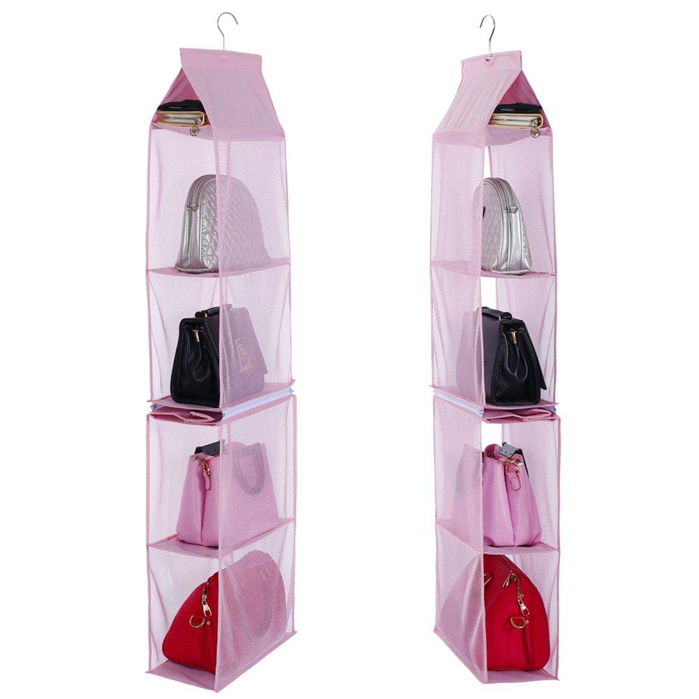 Ocamo Portfolio Wallet Storage Bag Separable Non-woven Hanging Bag Wardrobe Bedroom Storage Bag pink