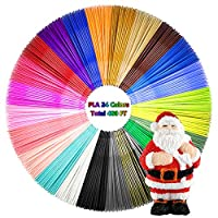 AMOLEN 3D Pen Filament 24 Colors, 1.75mm PLA Filament Refills Pack Including 4 Glow in The Dark, Each Color 20 Feet, Total 480 Feet Lengths