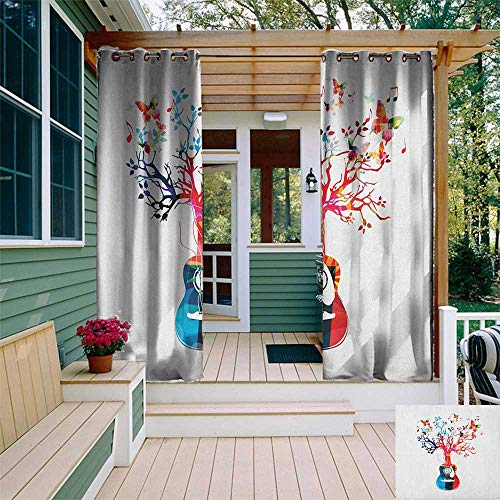 leinuoyi Guitar, Outdoor Curtain Set, Colorful Musical Composition with Guitar Tree and Butterflies Artistic Inspiration, for Privacy W108 x L108 Inch Multicolor ()