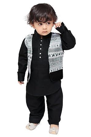 d2aa165c1 Munna Munni Kids Apparel Boy's Cotton Printed Linen Pathan Jacket Suit ( Black, 2 Years