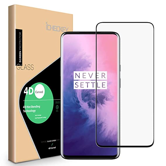 low priced 09d42 b4cfb OnePlus 7 Pro Screen Protector, ICHECKEY [4D Full Coverage] [Case Friendly]  Tempered Glass Screen Cover Shield for OnePlus 7 Pro