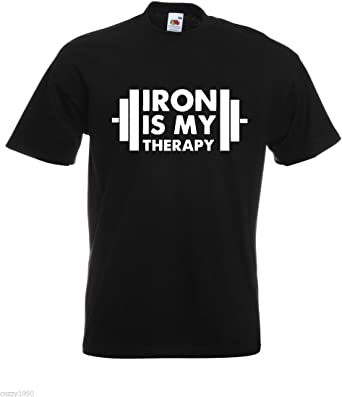 Beach T Shirts Summer Tops Iron Is My Therapy Bodybuilder Workout Funny Weightlifting T-Shirt,Gift Funny T Shirt