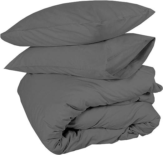 Zipper Closer Duvet Cover/& 2 Pillowcase Dark Grey Solid All Size Cotton 600-TC