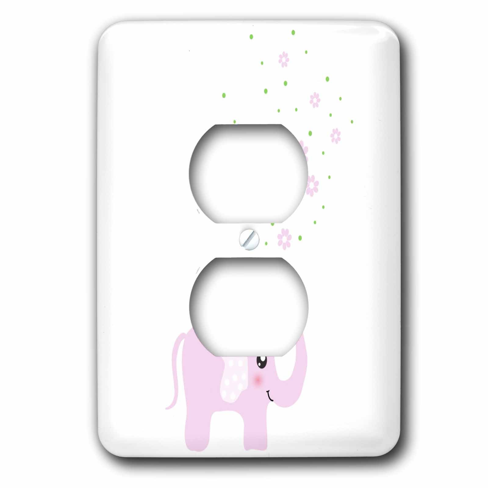 3dRose LLC lsp_113125_6 Cute Pink Elephant Blowing Flowers from Trunk - Girly Kawaii Kids Nursery Animal Baby Girl Cartoon 2 Plug Outlet Cover