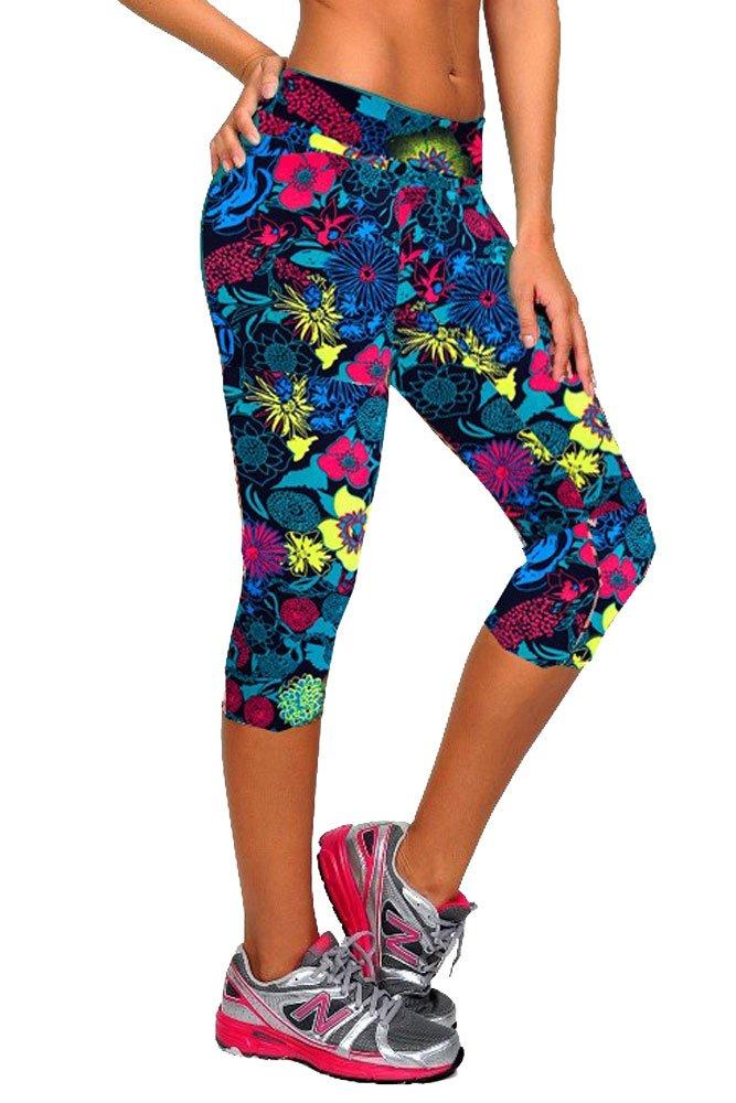 Women's High Waist Cropped Yoga Sport Leggings Small/Medium) Generic