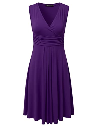 DRESSIS Women's Sleeveless V Neck Pleated Waist Flared Dress S to 3XL (13 Colors)