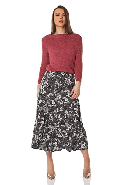 751a7b4758 Roman Originals Women Burnout Floral Midi Skirt - Ladies Pencil Knee Length  A Line Jersey Stretch Formal Flowers Office Smart Going Out 50s Roses Skirts:  ...
