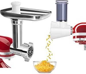 Metal Food Grinder Attachment and Slicer/Shredder Attachment for KitchenAid Stand Mixers