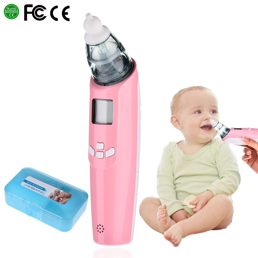 Baby Nasal Aspirator, Luerme Electric Nasal Aspirator Safe Hygienic Nose Cleaner with LCD Screen, Music, Colorful Light & 3 Levels Suction for Newborns and Toddlers (Pink)