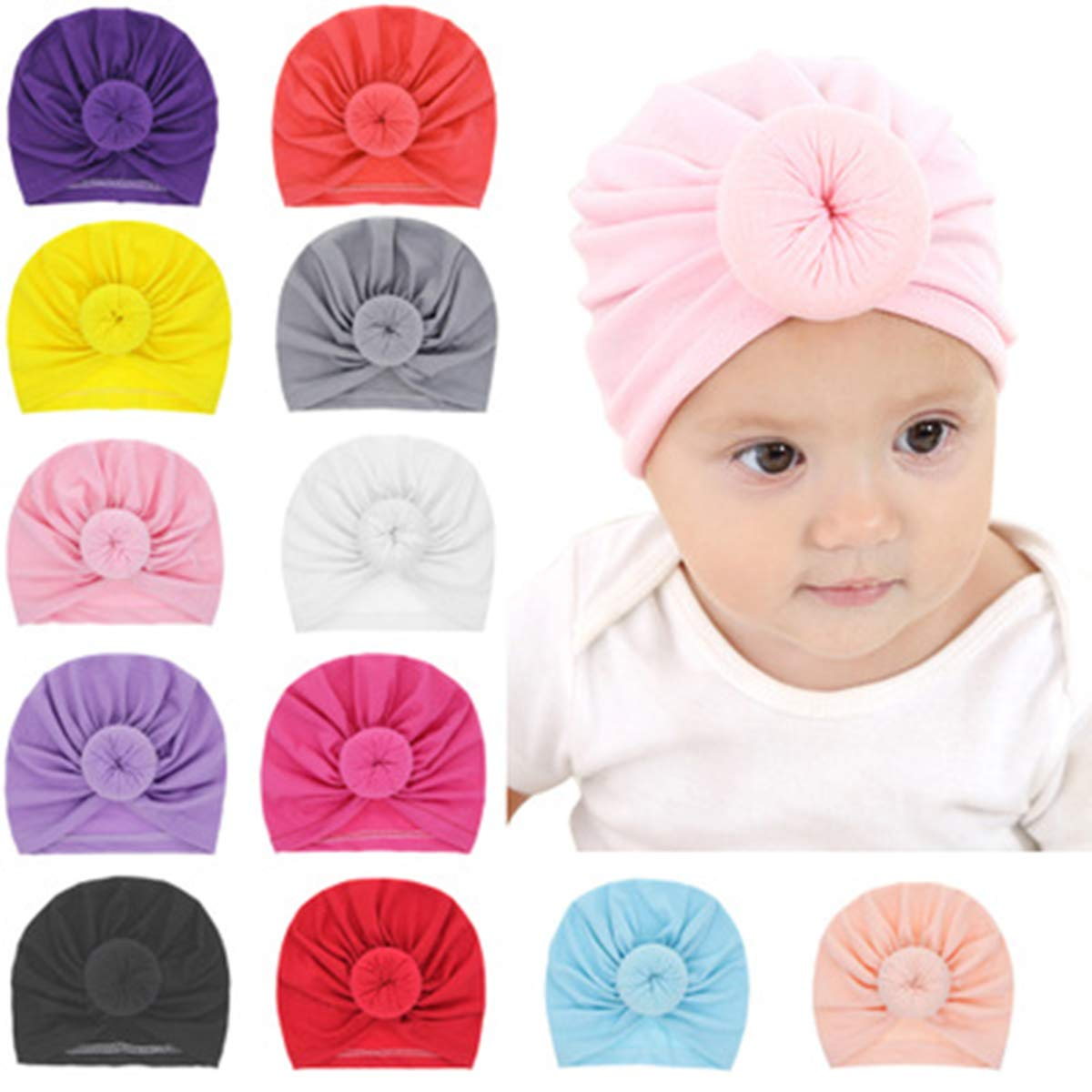 ZOONAI Infant Toddler Girls Toddler Cotton Hat Baby Turban Ear Cap Kids Head Cap