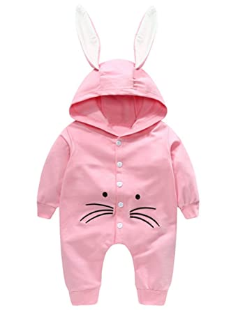 622f1917c11 Image Unavailable. Image not available for. Color  Newborn Baby Girls Boys  Easter Cute Cartoon Rabbit Print Hooded Romper ...