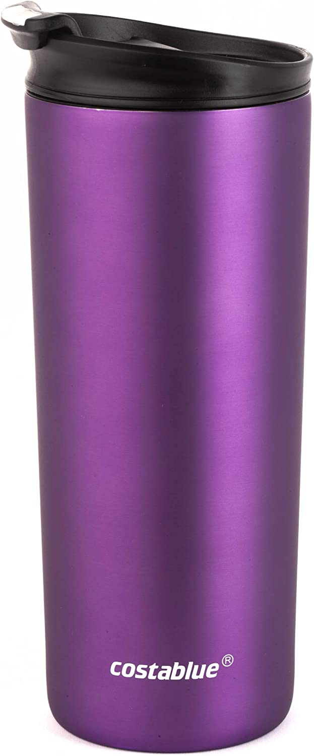 Costablue Vacuum Insulated Stainless Steel Travel mug 16 Ounce Easy to clean ; leak proof lid, Matte purple
