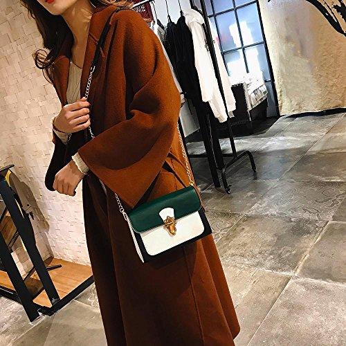 hombro pequeño aleta bolso Casual Hebilla de mano Señoras niñas Crossbody Bolso patchwork Bolsos de Verde KanLin1986 Mujeres para UBxz0qIW