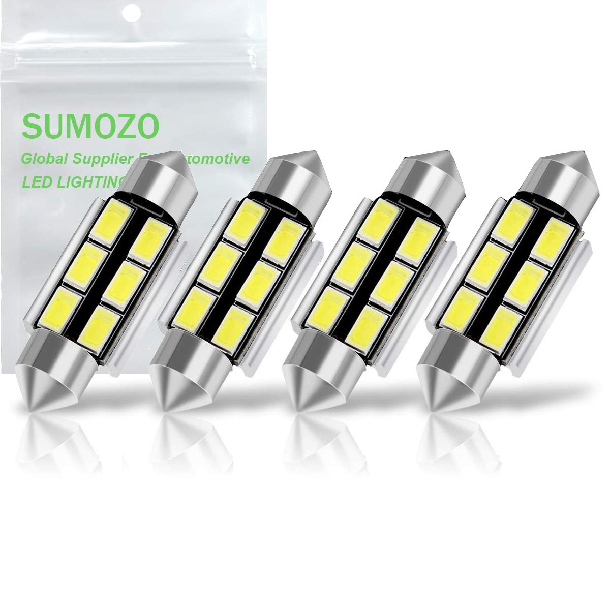 SUMOZO 41MM 42MM Festoon C5W Led Bulbs 578 6411 212-2 569 211-2 6-SMD 5730 Canbus Error Free Car Interior Dome Map Door Lights 42mm 6000K Xenon White Pack of 4
