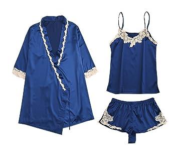 mujer verano satín cordón conjunto de pijamas señoras 3 piezas manga corta ropa de dormir camisón