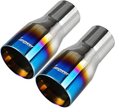 """2.5/"""" 3.5/"""" Polished Stainless Steel Blue Burnt Straight Cut Duo Layer Exhaust Tip"""