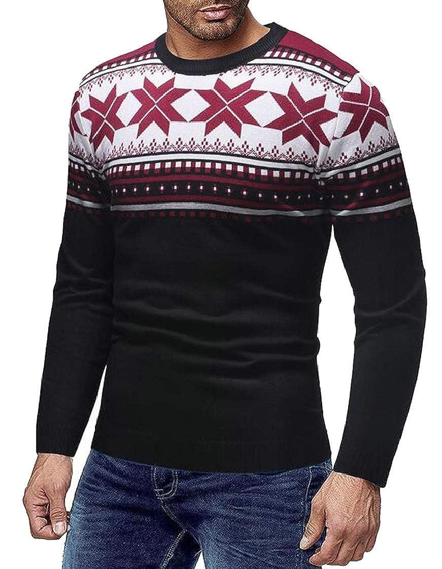 WAWAYA Men Long Sleeve Crewneck Floral Print Knitting Pullover Sweaters