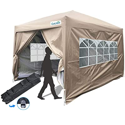 Quictent Silvox 10x10 Ez Pop Up Canopy Tent Enclosed Instant Canopy Shelter Protable Waterproof with Sidewalls and Church Windows (Beige): Sports & Outdoors