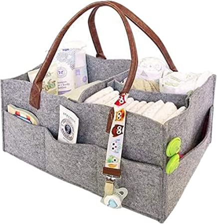 Foldable Portable Nursery Organizer Storage Bin Felt Basket Tote Bag With Handle for Diapers Changing Table Baby Diaper Caddy Home Organization Baby Wipes