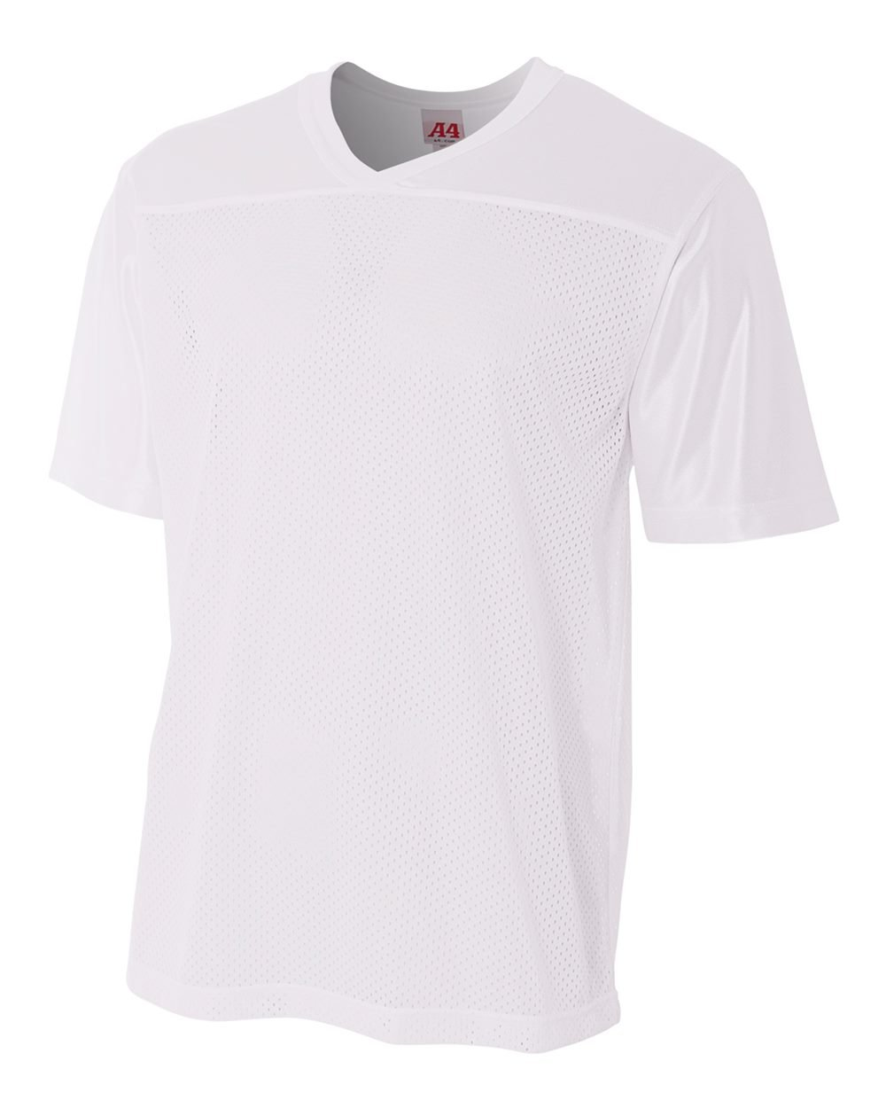 Adult White 2X (Blank Back) Moisture Wicking V-Neck Football Jersey