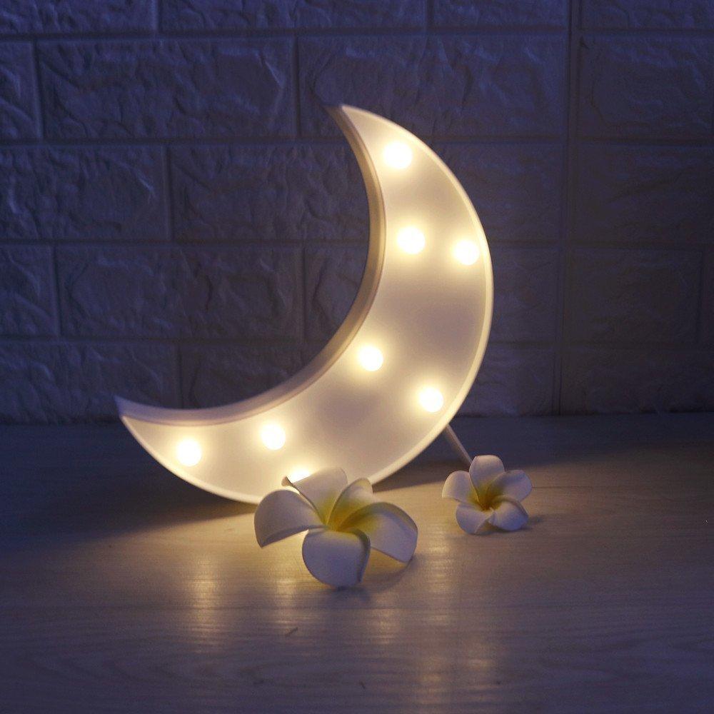 レッドフラミンゴ装飾LEDライト、amzstar Valentine Romance Atmosphereライト、パーティーウェディング誕生日パーティー装飾Kids ' Room電池式LED夜間ライト ホワイト AMZSTAR B06XGRJPKN 12575 Moon-white Moonwhite