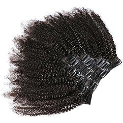 KeLang Hair African American Afro Kinky Curly Clip In Human Hair Extensions Brazilian Virgin Hair Natural Color 4B 4C Afro Kinky Curly Clip Ins For Black Women 10inch 7pcs/lot,120gram/set