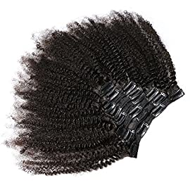 KeLang Hair African American Afro Kinky Curly Clip In Human Hair Extensions Brazilian Virgin Hair Natural Color 4B 4C…