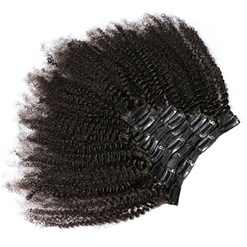 KeLang Hair African American Afro Kinky Curly Clip In Human Hair Extensions Brazilian Virgin Hair Natural Color 4B 4C Afro Kinky Curly Clip Ins For Black Women 14inch 7pcs/lot,120gram/set (Natural Human Extension Hair)